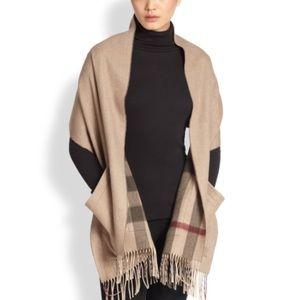 Burberry wool cashmere nova check poncho sweater